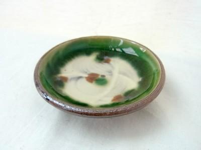 福田 皿3寸 三彩ふち緑