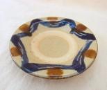 宮城 皿3.5寸 ふちコバルト内飴