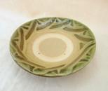 宮城 皿4.5寸 ふち緑指掻