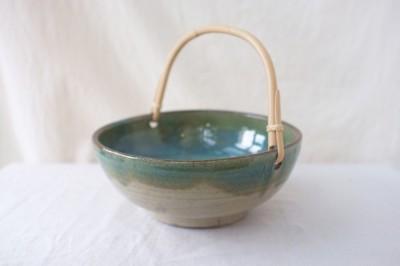 宮城 菓子鉢 緑掛