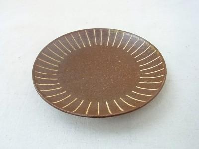 かねき 皿5寸 象嵌 線