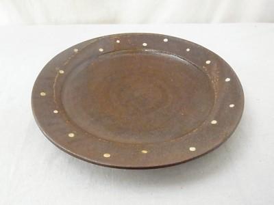 かねき 皿8寸 白ドット