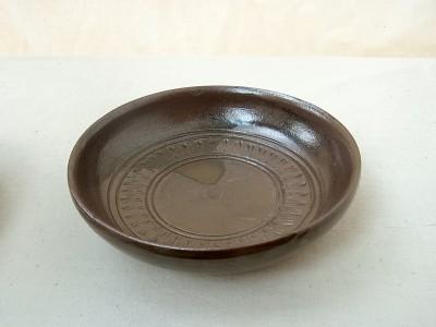 玉城 皿6寸 カレー用 線彫り