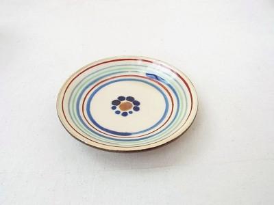常秀 皿4寸 赤 ストライプ青
