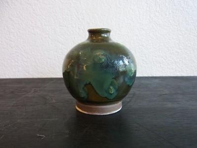 茂生 小壺 緑釉