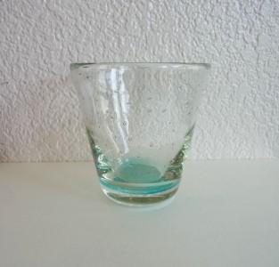 清天 底色気泡コーングラス大 水色