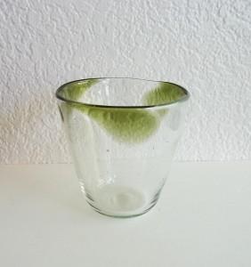 彩砂 三つ玉グラス オリーブ