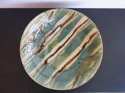 常秀 尺2寸皿 緑