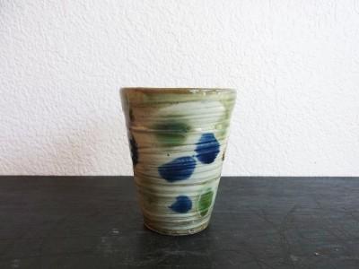 茂生 陶カップ 三彩