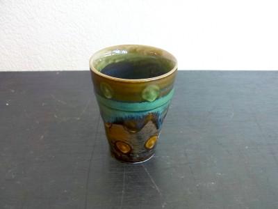 茂生 陶カップ小 緑釉点イッチン 内緑