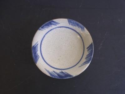玉城 皿6寸 コバルト斜線