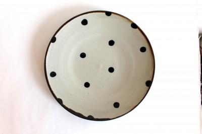 萬羽 皿8寸 コバルトドット