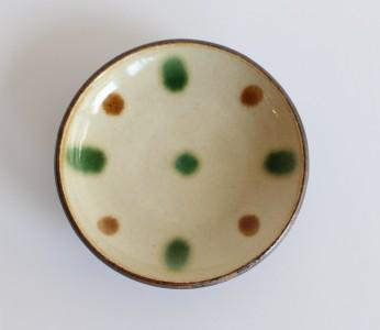 福田 皿4寸 三彩