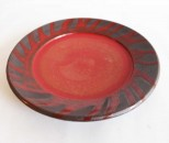 十鶴 リム皿5寸 赤