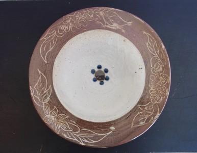 茂生 尺2寸平皿 象嵌