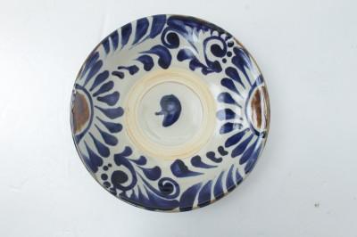 常秀 皿8寸 重 コバルト菊唐草